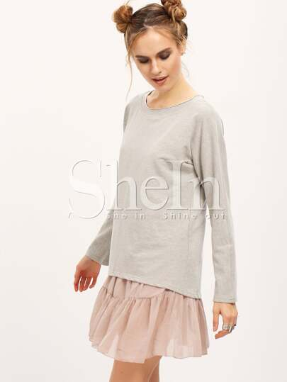 Grey Long Sleeve Color Block With Lace Dress