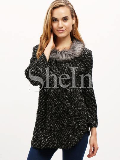 Black Long Sleeve Contrast Faxu Fur Cape Coat