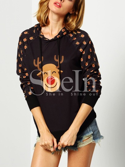 Black Hooded Deer Print Sweatshirt
