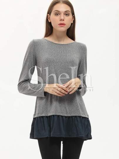 T-shirt color-block manches longues -gris