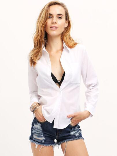 Women White Button Formal Shirt