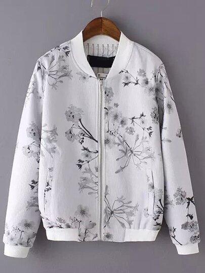 Light Grey Stand Collar Floral Pockets Jacket