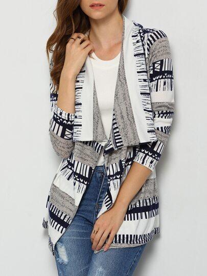 Navy Grey Long Sleeve Striped Coat