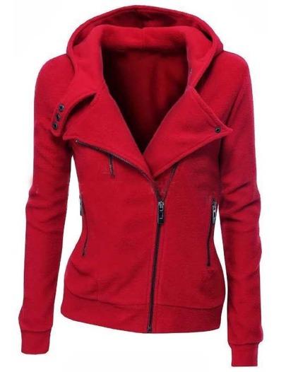 Red Zipper Front Hooded Sweatshirt