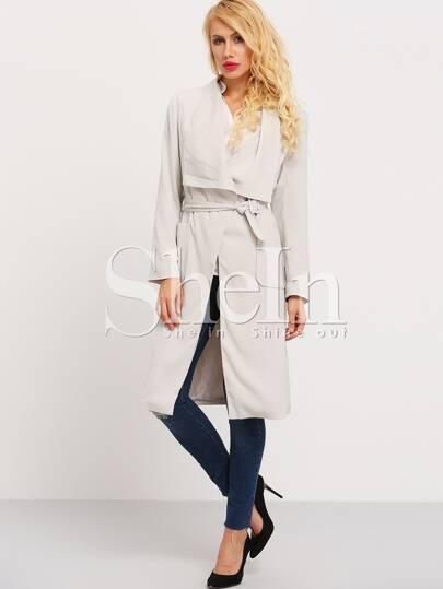 Grey Long Sleeve Lapel Trench Coat