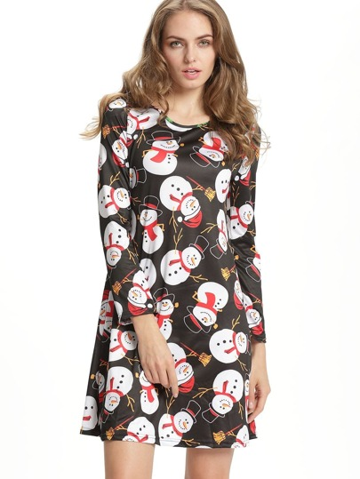 Black Christmas Snowman Print Shift Dress