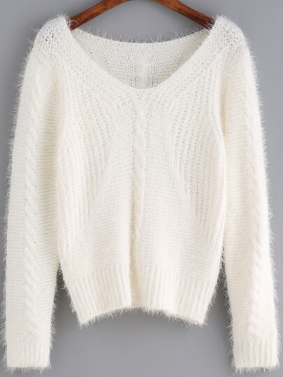 White V Neck Shaggy Crop Sweater
