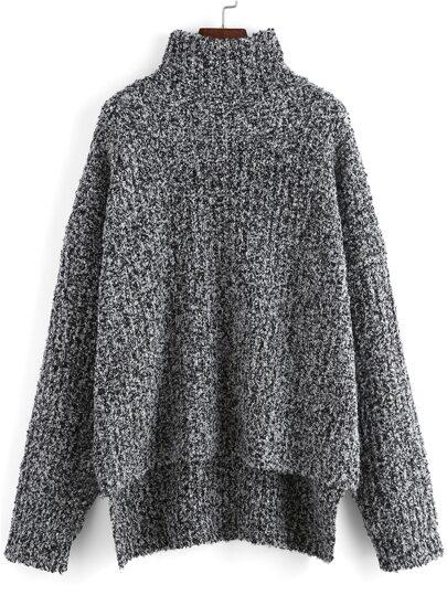 Jersey cuello alto asimétrico suelto -gris
