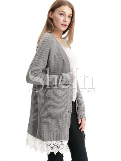 Grey Long Sleeve With Lace Cardigan
