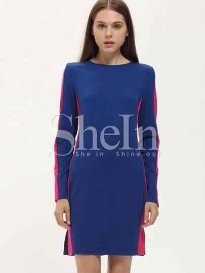 Blue Pink Long Sleeve Cut Out Color Block Dress