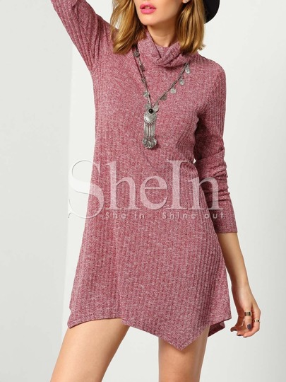 Pink Long Sleeve Turtleneck Asymmetric Sweater Dress