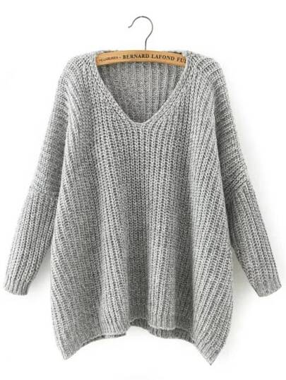 V Neckline Dropped Shoulder Sweater