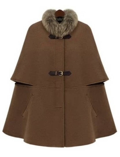 Camel Removable Fur Collar Woolen Cape