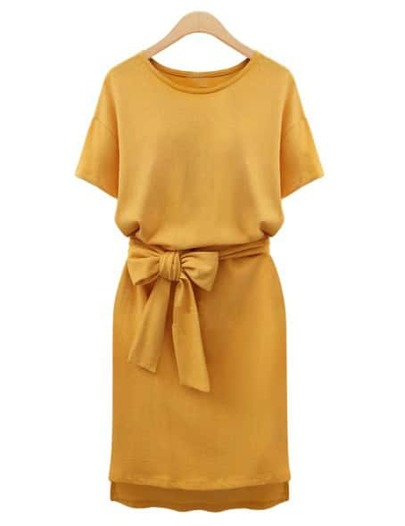 Yellow Round Neck Tie-Waist Slim Dress