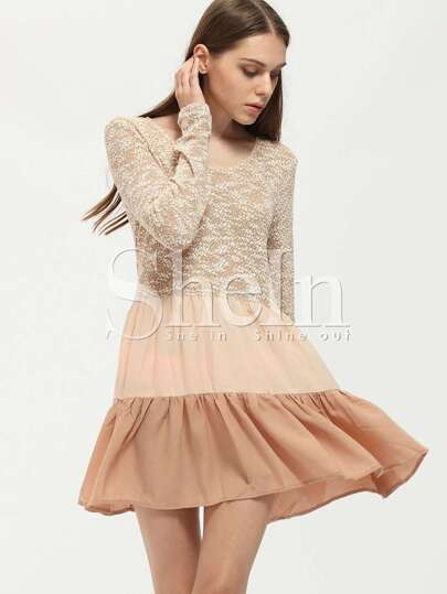 Apricot Long Sleeve Color Block Ruffle Dress