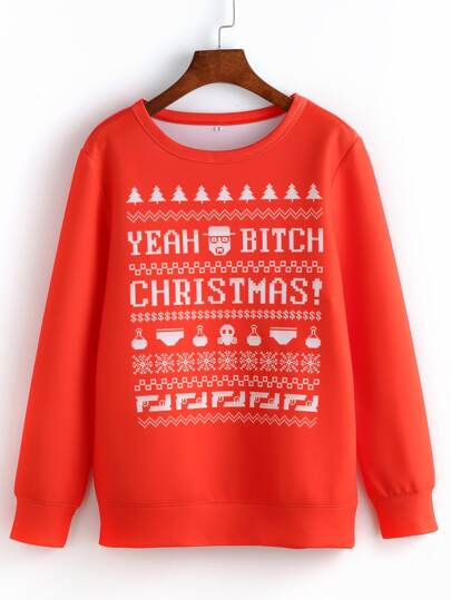 Red Round Neck Christmas Print Sweatshirt