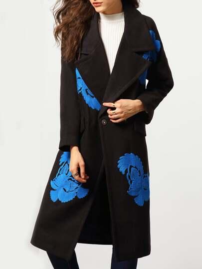 Black Lapel Single Button Embroidered Coat