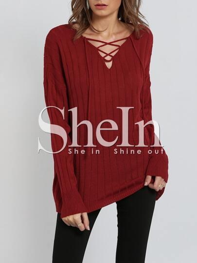 Jersey manga larga con cinta -rojo
