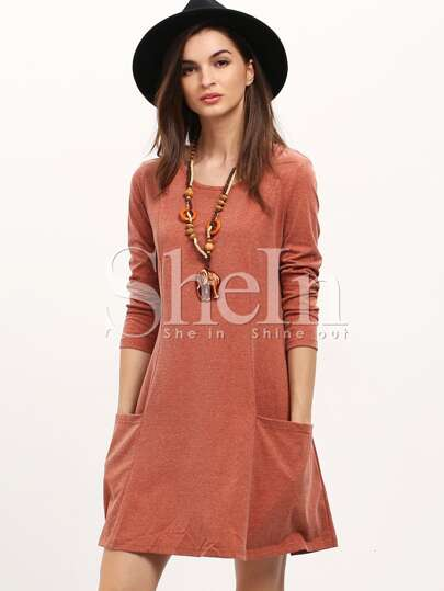 Brown Long Sleeve Pockets Casual Dress