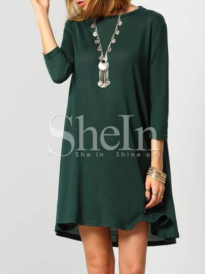 Dark Green Round Neck Cut Out Casual Dress