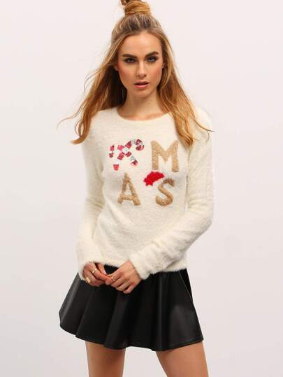 X'mas Letters Embellished Pullover Sweaters