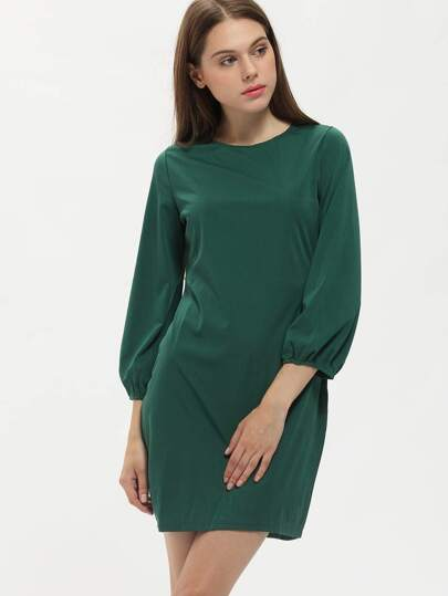 Green Round Neck Long Sleeve Slim Dress