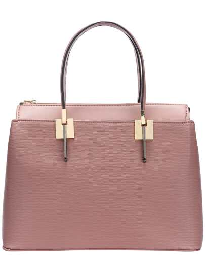 Pink Double Handle Zipper PU Shoulder Bag