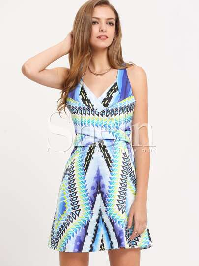 Multicolor Sleeveless Patchwork A Line Dress