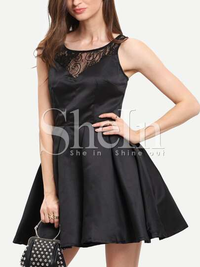 Black Sleeveless With Lace Flare Dress