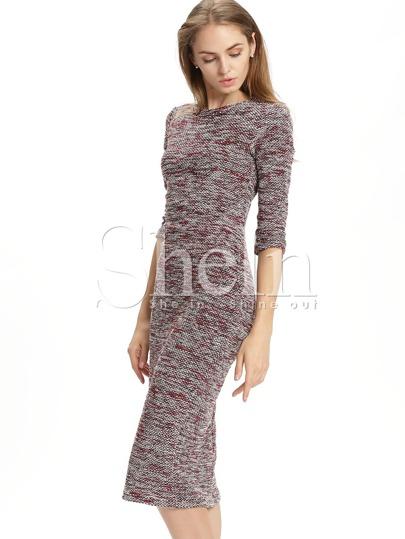 Burgundy Round Neck Sheath Sweater Dress