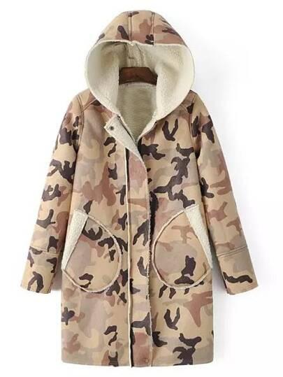 Khaki Hooded Long Sleeve Camouflage Pockets Coat
