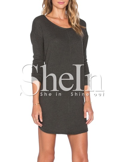 Grey Round Neck V Back Dress