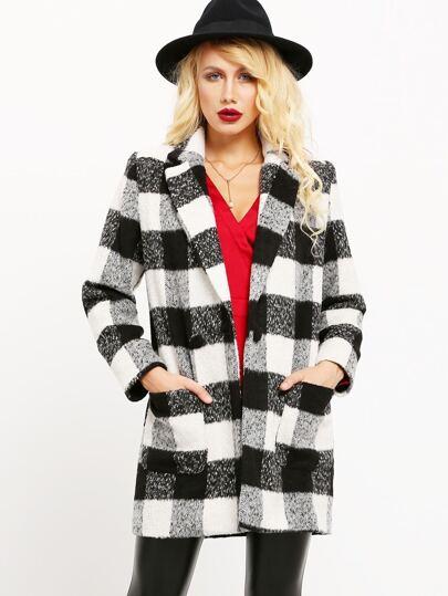 Black White Long Sleeve Lapel Plaid Coat