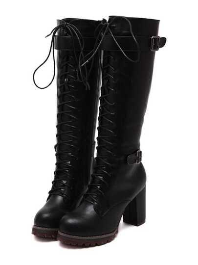 Botas tacón alto con cordón alto -negro