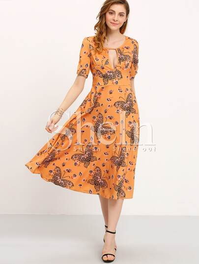 Yellow Short Sleeve Vintage Print Dress