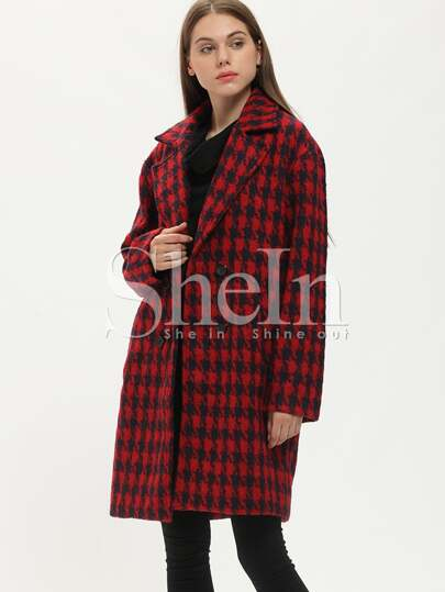 Red Long Sleeve Notch Lapel Houndstooth Coat