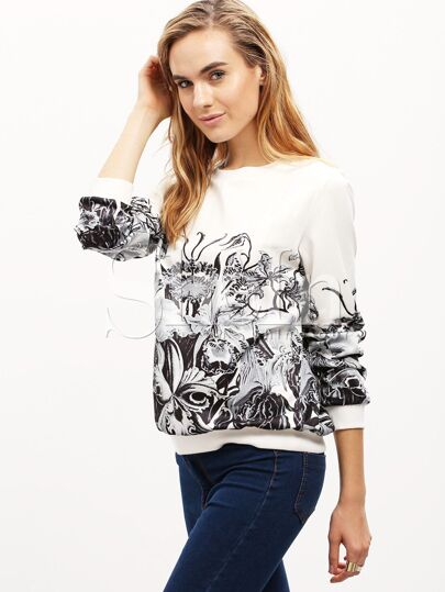 White Long Sleeve Floral Sweatshirt