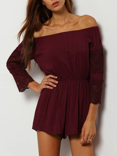 Burgundy Off The Shoulder Lace Embellished Jumpsuit