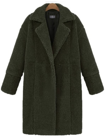 Green Lapel Long Sleeve Loose Coat