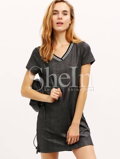 Black Short Sleeve V Neck Glitter Dress