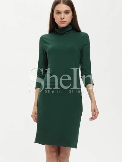 Dark Green Crew Neck Sheath Dress
