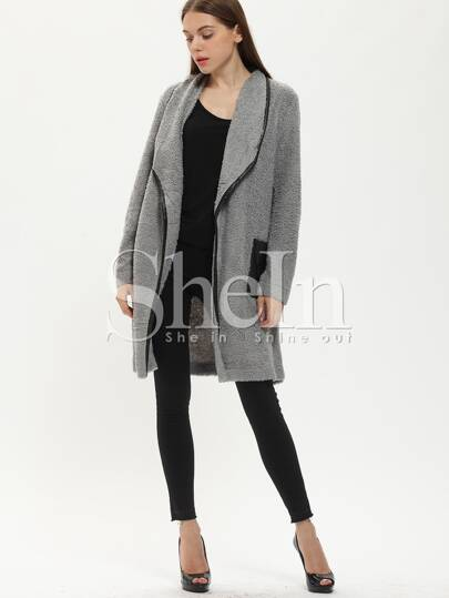 Grey Lapel Crontrast Black Pockets Coat