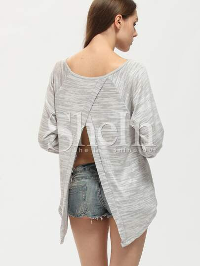 Grey Crew Neck Split Back With Lace T-Shirt