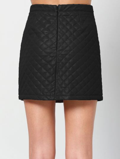 Black Slim Quilting PU Skirt