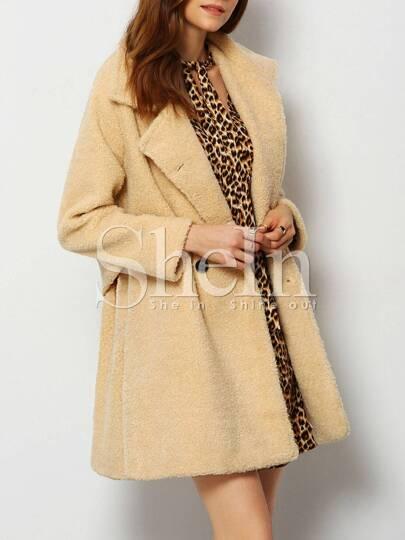 Apricot Notch Lapel Fleece Coat