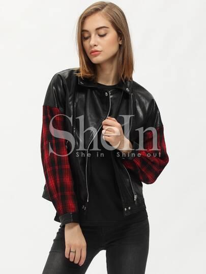 Black Lapel Contrast Red Plaid Sleeve Zipper Jacket