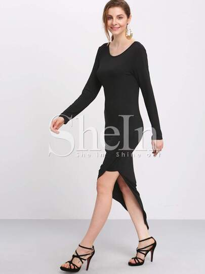 Black Draped Side Asymmetric Dress
