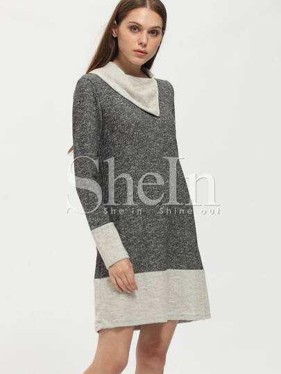 Grey Asymmetrical Lapel Contrast Hem Dress