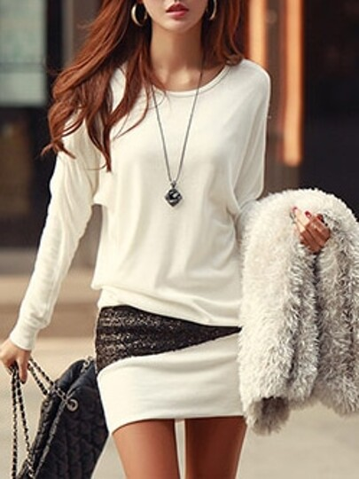White Round Neck Metallic Yoke Bodycon Dress