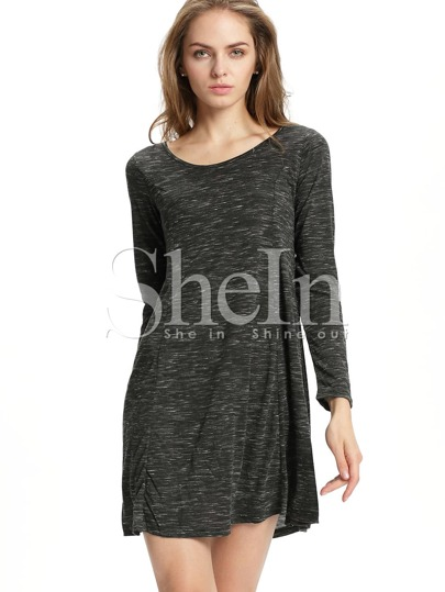 Grey Scoop Neck Print T-shirt Dress